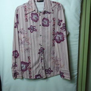 Diesel LS Pink Floral Button Front Shirt Large